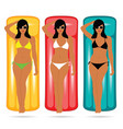 girl in bikini happy on mattress set vector image vector image