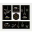 Gold Christmas greeting card template set vector image vector image