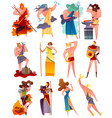 greece mythology cartoon set vector image