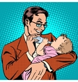 Happy father feeding newborn baby with milk vector image