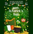 invitation st patricks day leprechaun gold harp vector image vector image