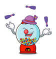 juggling gumball machine mascot cartoon vector image vector image