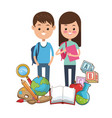 kids student school supplies tools vector image vector image