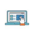 laptop content video click social media icon vector image