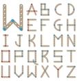 Latin alphabet made of wooden meccano vector image