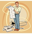man manual assembling furniture vector image vector image
