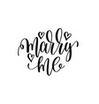 marry me hand lettering romantic quote to vector image vector image