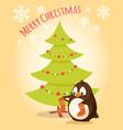 merry christmas postcard penguin cartoon character vector image