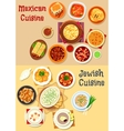 Mexican and jewish cuisine dinner icon vector image vector image