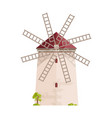old european windmill isolated on white background vector image vector image
