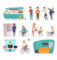 people social classes decorative icons vector image vector image