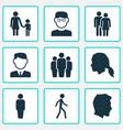 person icons set collection of jogging member vector image vector image