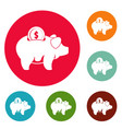 pig money icons circle set vector image
