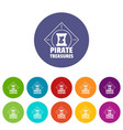 pirate icons set color vector image vector image