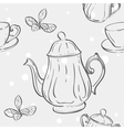 Seamless texture with the image of the tea set and vector image vector image