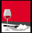 served table glass wine and a plate food vector image