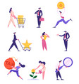 set businesspeople in different situations vector image vector image