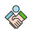 shaking hand and earth planet green energy concept vector image