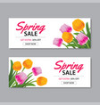 Spring sale banner template with colorful