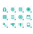 stylized security and business icons vector image
