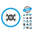 Tire Service Flat Icon with Bonus vector image vector image
