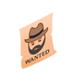 Vintage wanted poster isometric 3d icon vector image vector image