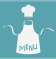 white blank kitchen cotton apron chef hat menu vector image