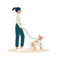 woman or young girl on walk with dog outdoor flat vector image