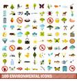 100 environmental icons set flat style vector image
