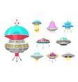 alien spaceships set of ufo unidentified flying vector image vector image