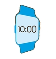 blue digital smart watch time screen vector image vector image