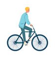 cartoon man riding a bicycle isolated on white vector image