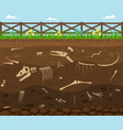cartoon soil with dead animals card background vector image vector image