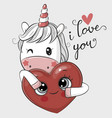 cartoon unicorn with heart on a white background vector image