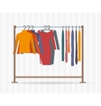 Clothes racks with dresses on hangers vector image vector image