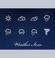 collection of white weather icons user interface vector image vector image