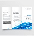 corporate tri fold brochure design with blue vector image vector image