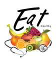 eat healthy 3d fruit background image vector image vector image