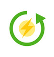 flash and circle arrow clean energy flat icon vector image