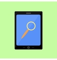 Flat style touch pad with magnifying glass vector image