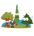 funny trees and logger vector image vector image
