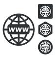 Global network icon set monochrome vector image vector image