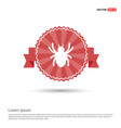 halloween spider icon - red ribbon banner vector image