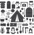 Hiking and Camping Outline Icon Set vector image vector image