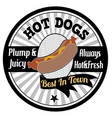 hot dogs emblem label or stamp vector image