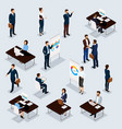 isometric set business conception vector image vector image