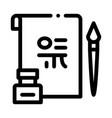 korean hieroglyph icon outline vector image vector image