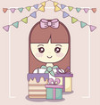 little girl with gift boxes and sweet cake vector image vector image