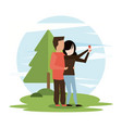 man and woman couple taking selfie vector image vector image