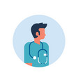 man medical doctor stethoscope profile icon male vector image vector image